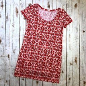 J.CREW Red White Ikat Tribal Shift Dress